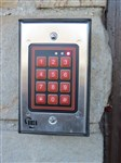 Keypad entry for volunteers. Church is on a busy road with restaurants, gas and shopping nearby.